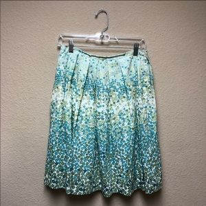[Club Monaco] Green and Blue Pleated Floral Skirt